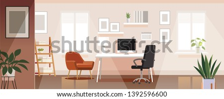 Workplace room, modern Interior, cabinet. Office with computer. Colorful vector illustration in flat cartoon style. Royalty-Free Stock Photo #1392596600
