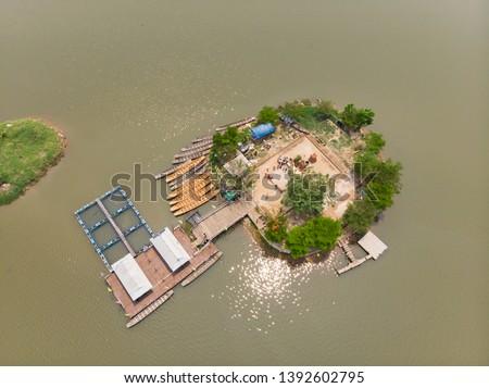 Thai submerged or underwater public temple, wat Tilok Aram at Phayao city lake, Thailand #1392602795