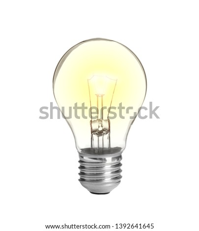 Modern glowing lamp bulb on white background Royalty-Free Stock Photo #1392641645