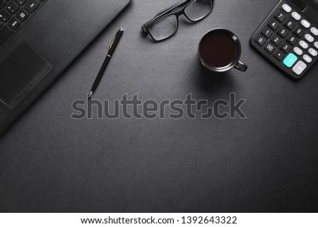 Black office desk. Business workplace #1392643322