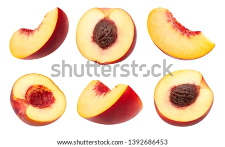 Peach collection Clipping Path. Peach isolated on white background. Big set fresh peach fruits. Professional studio macro shooting #1392686453