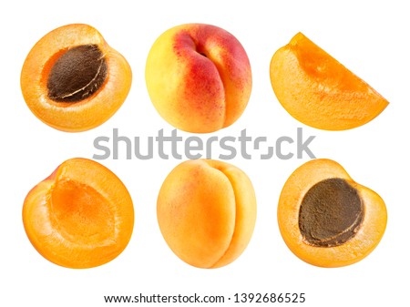 Apricot fruits and half Isolated on white background. Apricot isolated on white. Apricot Clipping Path. Professional studio macro shooting #1392686525