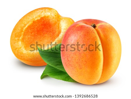 Fresh apricot fruits. Apricot isolated on white background. Apricot Clipping Path. Sweet apricots with leafs on white #1392686528