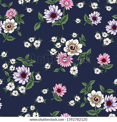 pink and violet vector flowers pattern on navy background #1392782120