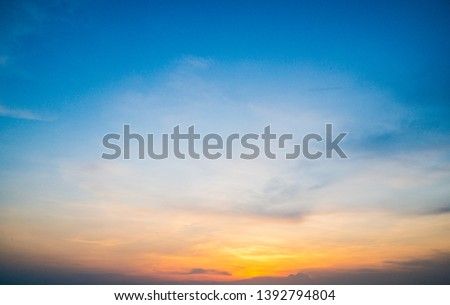 Sunset sky background,Nature concept background,Beautiful Twilight sunset sky with tiny clouds, #1392794804