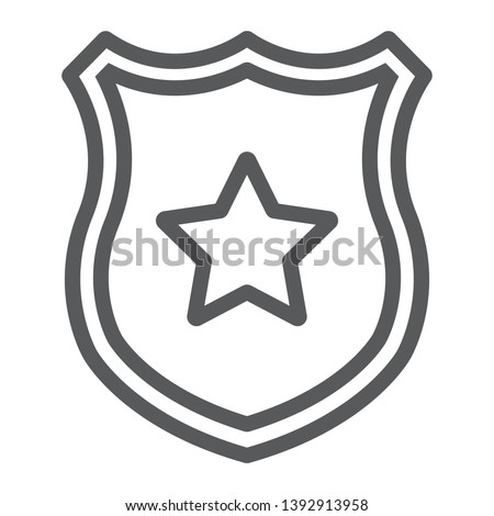 Police badge line icon, officer and law, shield with star sign, vector graphics, a linear pattern on a white background, eps 10. #1392913958