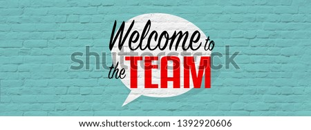 Welcome to the team banner with graffiti effect Royalty-Free Stock Photo #1392920606
