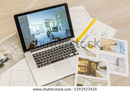 Workplace of architect - notebook, calculator, construction drawings on grey background