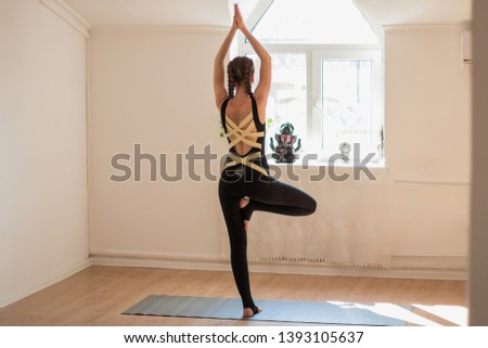Girl do yoga asana fun #1393105637