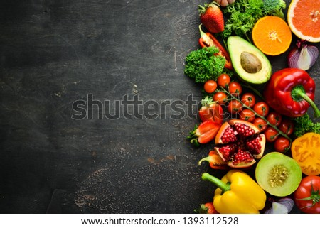 Fresh fruits, vegetables and berries. On a black background. Banner Top view. Free space for your text. #1393112528