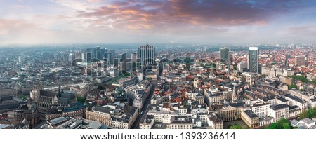 Panoramic aerial view of the central part of Brussels, the park, the Brussels Cathedral and the business part of the city, Belgium #1393236614