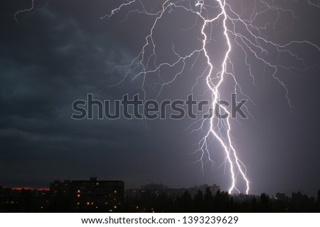 thunderstorm. lightning over the city