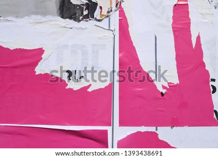 pink poster patches, creative urban street style placard background, ripped torn paper texture #1393438691
