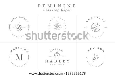 Logo templates collection. Logo set. Minimalist logotypes. Premade logo design - Vector #1393566179