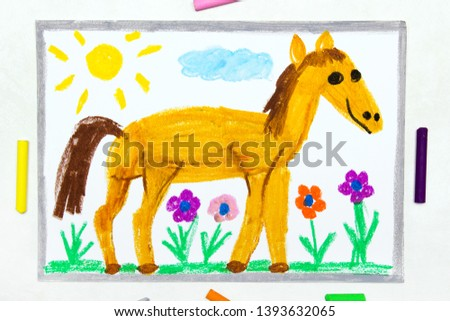 Colorful drawing: cute smiling horse in the pasture