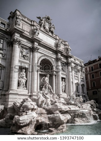 The famous Trevi Fountain or Fontana di Trevi at Piazza Trevi, Rome. Built in 1762, designed by Nicola Salvi. #1393747100