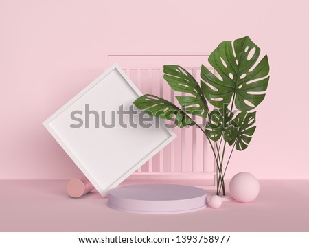 Abstract mock up pastel color Scene, pink geometric shape podium background,3d rendering.