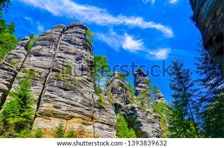 Mountain rocks tree tops view. High rocks in mountains. Mountain high rocks. Mountain rocks view #1393839632