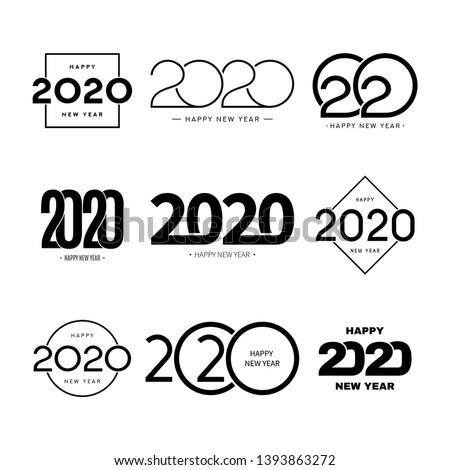 Set of 2020 happy new year signs. Collection of 2020 happy new year symbols. Vector illustration with black holiday labels isolated on white background. #1393863272