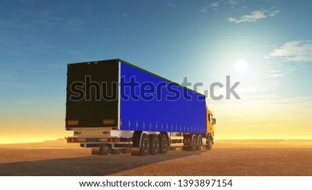 Truck in the desert.,3d render #1393897154