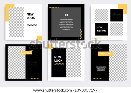 Six set editable minimal square banner template. Black yellow background color geometric square line shape. Suitable for social media post and web ads promotion. Vector illustration with photo college #1393959197