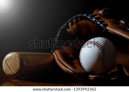 Baseball equipment, baseball and white with a dark background #1393992362
