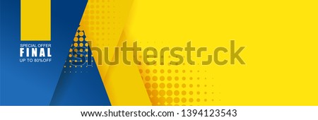 Vector abstract background texture  Sale banner template design, bright poster. Big sale special offer. banner yellow background, pink and blue stripes and shapes. #1394123543