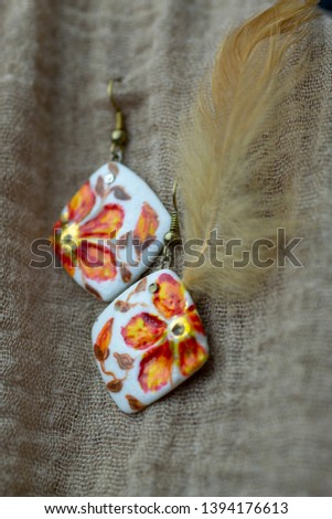 Macro photography of jewelry and bijoux in natural fabrics. Retro style, rustic style, and country style #1394176613