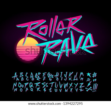 Roller Rave vintage sign and doodle style Retro Wave font alphabet vector template. Set of Rock grunge symbols collection for print tee and poster design. Retro wave type font collection #1394227295
