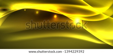 Neon shiny light glowing wave lines, vector futuristic techno template #1394229392