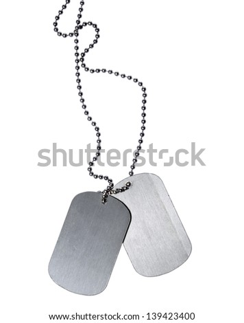 Military ID tags isolated on white background