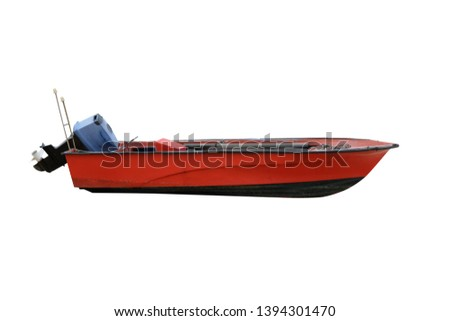 red wooden fishing boat with motor isolated on white background #1394301470