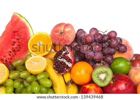 Huge group of fresh fruits isolated on a white background. Shot in a studio #139439468