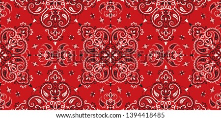 Seamless pattern based on ornament paisley Bandana Print. Boho vintage style vector background. Silk neck scarf or kerchief square pattern design style, best motive for print on fabric or papper. #1394418485