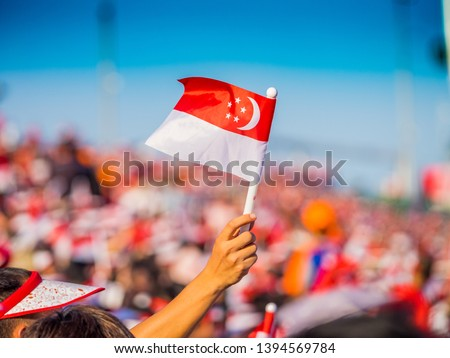 Waving a Singapore Flag during the National Day Parade #1394569784