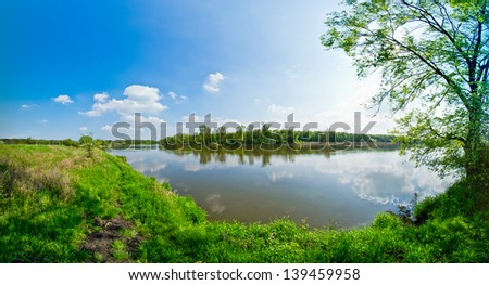 Odra river during the spring time Royalty-Free Stock Photo #139459958