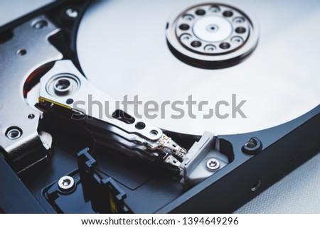 Components for PC. Open hard disk storage. Recovery and storage of information. Magnetic disks inside HDD. Modern digital technology. #1394649296