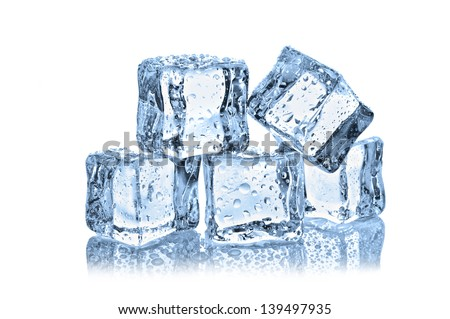 ice cubes with water drops on white background #139497935