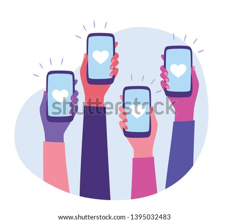 Social Media Interaction. Social network communication on mobile app. Hands holding smartphone with like button on the screen. Mobile application and modern technology concept. Flat style vector #1395032483