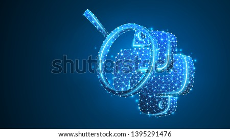 Magnifying glass Analysis of Python coding language. Research, programming, developing concept. Abstract, digital, wireframe, low poly mesh, vector blue neon 3d illustration. Triangle, line, dot, star