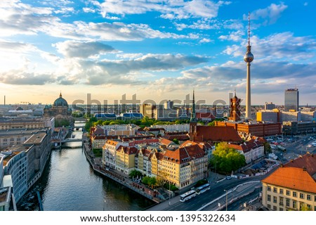 Berlin cityscape with Berlin cathedral and Television tower, Germany #1395322634