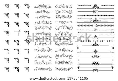 Decorative corners and dividers. Ornamental curls border, royal ornaments and vintage filigree ornament corner vector illustration set