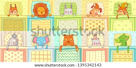 Sleeping animals. Cute animal night sleep in bed, funny dog on pillow and cat in nightcap cartoon vector illustration set #1395342143