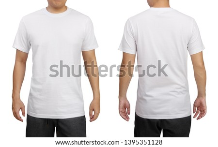 White t-shirt on a young man isolated on white background. Front and back view. #1395351128