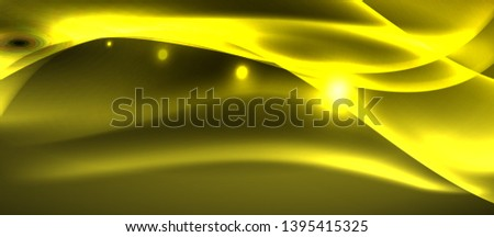 Neon shiny light glowing wave lines, vector futuristic techno template #1395415325