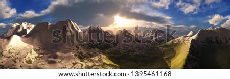 Panorama of the mountain landscape, snow-capped peaks under a blue sky with clouds, 3d rendering #1395461168