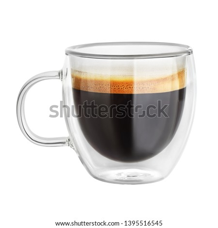 Transparent double wall glass mug with espresso coffee isolated on white background #1395516545