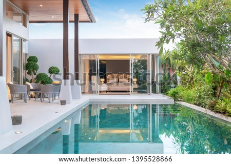 home or house building Exterior and interior design showing tropical pool villa with green garden and bedroom #1395528866