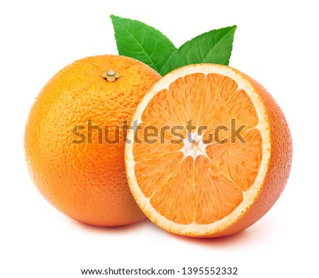Perfectly retouched orange with half slice and leaves isolated on white background with clipping path. One of the best isolated oranges halves slices that you have seen. #1395552332