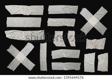 Adhesive Isolated Scotch Sticky Tape Pieces. Torn Paper Elements Set on a Black Background. #1395644576